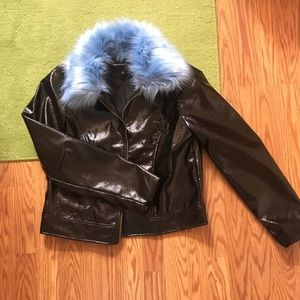 Who What Wear pleather jacket with blue fur collar